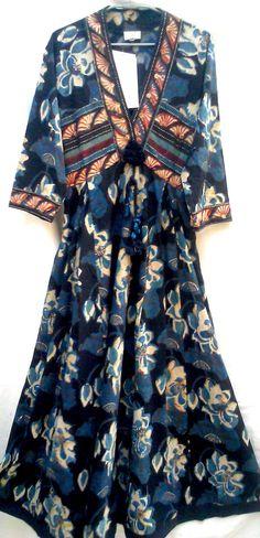 Rare Beautiful Gypsy style Boho Chic Anokhi Organic Black & Organic Indigo Lotus Hand Block Print Cotton Maxi dress by Khadiwallah on Etsy https://www.etsy.com/uk/listing/271157057/rare-beautiful-gypsy-style-boho-chic