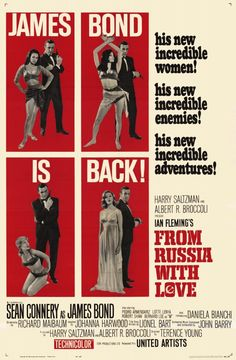 """""""From Russia with Love"""" (James Bond) (1963) starring Sean Connery, Robert Shaw, Lotte Lenya, James Bond willingly falls into an assassination ploy involving a naive Russian beauty in order to retrieve a Soviet encryption device that was stolen by SPECTRE."""