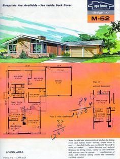 Garage Addition - NPS homes design No. Sims House Plans, Ranch House Plans, House Floor Plans, Modern Floor Plans, Modern House Plans, Vintage House Plans, Vintage Homes, Mcm House, Second Empire