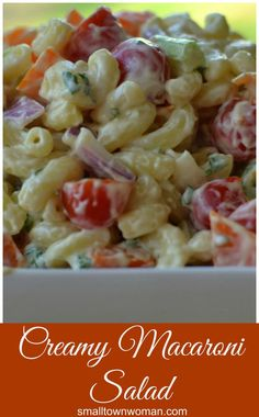 This Creamy Macaroni Salad is a real crowd-pleaser.  It is perfect for your next patio party but simple enough for a week night dinner with grilled steak and corn.
