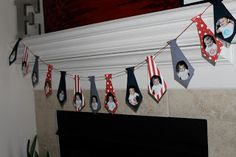 """1st year """"tie"""" banner for a Little Man Mustache Bash. A picture for every month the first year."""