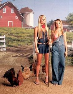 THE SIMPLE LIFE:  Society princesses Paris Hilton (R) and Nicole Richie (L) are about to eschew their parties, wardrobes and trust funds and move in with a farm family for five weeks to experience life as they have never known it in THE SIMPLE LIFE premiering Tuesday, Dec. 2 (8:30-9:00 PM ET/PT) on FOX. ª©2003 FOX BROADCASTING CO. Cr: Sam Jones/FOX.
