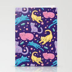 Playful Kittens Pattern Stationery Card