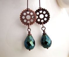 Teal Steampunk Earrings with stunning Czech glass beads and copper gears - Steampunk Jewelry