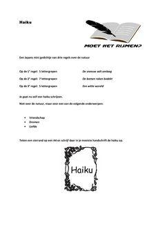 Gedichten schrijven. Werkblad HAIKU