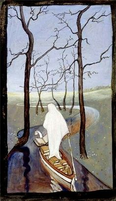 Six of Swords Tarot Card. I dunno but it reminds me of Remedios Varo so i like it. Tarot Card Meanings, Art Database, Tarot Decks, Les Oeuvres, Painting & Drawing, Art Nouveau, Illustration Art, Images, Scandinavian