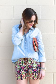 Printed Shorts and A Button Down Chambray Shirt Look for Spring and Summer