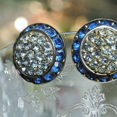 Lisner Earrings Rhinestone Clip On Designer Earrings 1960s