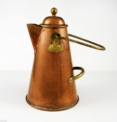 10.75in tall. (no handle) Antique Copper & Brass Coffee Pot / Kettle, 2 Handle Style ~ Lisbon Portugal #NaivePrimitive #Lisbon