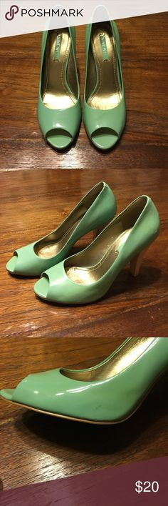 "Nine West Aqua peep toe pumps 7.5 Nine West patent leather aqua peep toe pumps with a white washed wooden 3 1/2"" heel, size 7.5. The color is just slightly more green than Tiffany blue. Only worn a few times, but there are 3-4 scuff marks that I cannot get off. Smoke free, pet free home, original box not included. Nine West Shoes Heels"