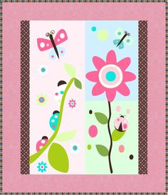 Flowers and Ladybugs Quilt Pattern - Baby Size Baby Quilt Patterns, Quilting For Beginners, Machine Applique, Perfect Gift For Her, Fabric Panels, Quilt Making, Pattern Making, Baby Quilts, Ladybugs