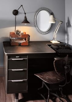 Rejuvenation Home Office: Our Wallace plug-in wall light and Anglepoise desk lamp light up a home office.