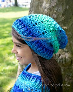 """From the Blogger: This pretty hat can be worked as a beanie or slouch and has a pretty shell design that is a little out of the ordinary."""""""