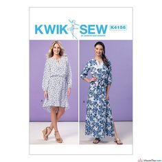 Kwik Sew Pattern K4156 Misses' Elastic-Waist Peasant Dresses & Sash … WeaverDee.com