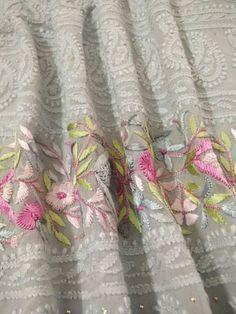 Chikankari Suits - Mukaish work Lucknowi suits - badala and kamadani work Suits Embroidery Online, Embroidery Suits, White Embroidery, Hand Embroidery, Embroidery Designs, Lucknowi Suits, Chikankari Suits, Clothing Studio, Designer Sarees Wedding