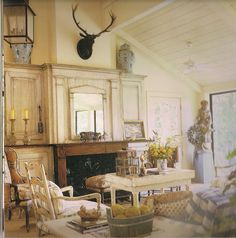 Charles Faudree uses antlers in some of his fantastic French Country designs, including his own home.