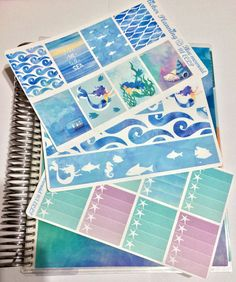 Blue mermaid KIT Planner Stickers for Erin Condren, Happy Planner, Filofax, kikki.K, etc.
