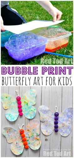 Bubble blowing art is a great way to engage the kids with art this summer. Then turn your artwork into a beautiful butterfly craft. Fun summer kids craft.
