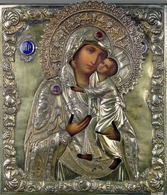 Blessed Mother Mary, Divine Mother, Blessed Virgin Mary, Religious Icons, Religious Art, Church Icon, Russian Icons, Mary And Jesus, Holy Mary