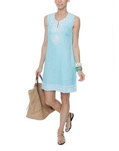 Dori Turquoise Linen Dress | Bella Tu | Halsbrook