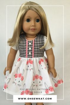 American Girl doll in Easter bunny print dress