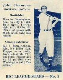 1950 Big League Stars (V362) #5 John Simmons Front