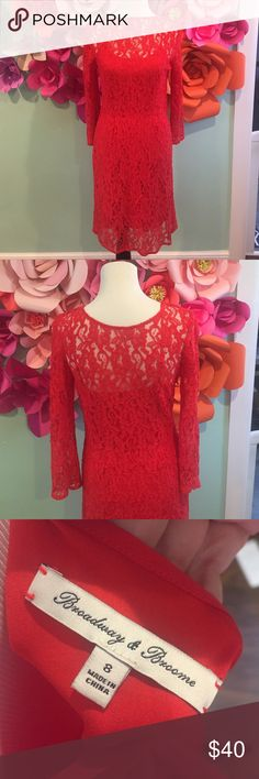 Madewell Red Lace Dress Just in time for Vday ❤♥️Red lace dress with attachable slip from Madewell. Brand on tag was a featured brand they were selling. Super comfortable and easy to wear. Great condition, worn once. Size 8. Dresses Midi
