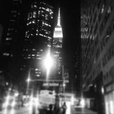 Black  white Empire State Building at night #ESB #NYCatnight