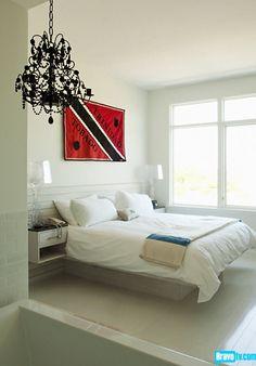 White bathroom/bedroom, black chandelier 2
