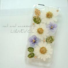 iPhone6用 押し花のスマホケース - ボタニカル white -