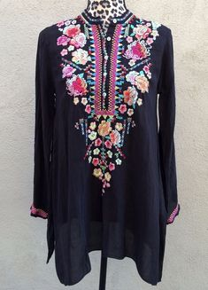 """Johnny Was """"Sable"""" #tunic top long sleeve in black with multicolor folk floral embroidery, size XS  #JohnnyWas #boho #bohochic #bohofashion #bohemian #bohemianchic #womensfashion"""