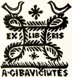 Rimtautas Gibavičius, ekslibrisas A. Gibavičiūtei. 1966, linoraižinys, 6 x 5