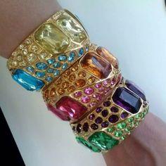 #Big #Bold #Beautiful #Gold #Bangle #Bracelets by #KennethJayLane with #Large #Fancy #Multicolor #Crystal #Rhinestones.  #KJL #Jewelry #Amethyst #Purple #Topaz #Amber #IndianPink #Rose #BlueZircon #Jonquil #PaleYellow #Erinite #SeaFoam #BlingBling #GlitzGlitterandGlam  http://instagram.com/p/oC0n15ATPW/