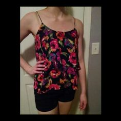 Paper Crane Floral Blouse Flowy layered tank top. Beautiful and like new. Paper Crane Tops Blouses
