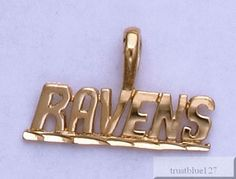 BALTIMORE RAVENS Team Name Pendant 24k Gold Plated Charm Team Fan Jewelry #Unbranded #Pendant