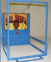 Carnival game Bull Ringer swing to hook ring onto nose