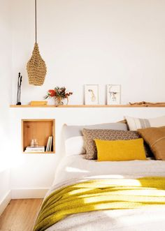 Spring style!! Modern Minimal contemporary Bohemian Global style!! Low platform bed with a shelf just above the head - with a hanging woven pendant lamp as a bedside lamp! Accents of fresh citron lemon yellow in accessories - wonderful for Spring!