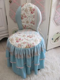 patchwork ruffled slipcover on slipper chair - shabby chic blue, white, and roses