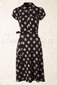 Lindy Bop - 50s Sophie Polkadot Jersey Dress in Black