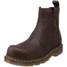 Martens Men's Fusion Safety-Toe Chelsea Boot Leather Chelsea boot featuring welt stitching, gored insets on sides, and pull-on loop at back Slip-resistant textured outsole Moisture-wicking lining Slip On Work Boots, Good Work Boots, Cool Boots, Dr. Martens, Botas Dr Martens, Most Comfortable Work Boots, Best Boots For Men, Mens Boots Fashion, Stitching Leather