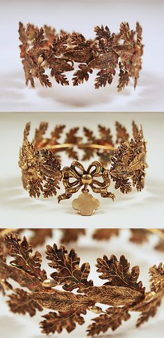 Tiara, 19th century,:French, copper gilt, Length at CF: 1 1/8 in. (2.9 cm)