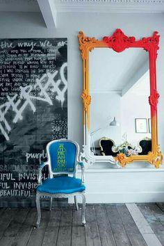 Stunning DIY Painted Mirror Designs Ideas, … – rustic home interior Graffiti Furniture, Spiegel Design, Rustic Home Interiors, Mirror Painting, Interior Decorating, Interior Design, Diy Decorating, Deco Design, Dream Decor