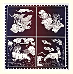 """""""The Four Dignities,"""" they represent sacred qualities and attitudes that Bodhisattvas develop on the path to enlightenment; qualities such as confidence (Tiger), clear awareness (Snow Lion), fearlessness (Garuda), and gentle power (Dragon)."""