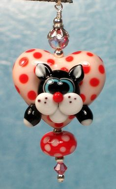 Made to order Margo lampwork beads valentine red pink heart black cat