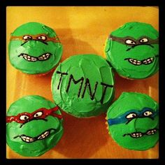 Teenage Mutant Ninja Turtle cupcakes for my brothers birthday - that is his 27th birthday