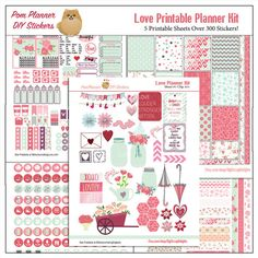 Love Printable Planner Kit in Pink & Green February Valentine, Roses, Hearts, Flowers, Mason Jars, 5 PDF Bible Journaling love Icons #green #pink #plannerlove #planneraddict #plannerstickers #printable #organization #decoration