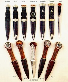 The sgian-dubh is a small, singled-edged knife worn as part of traditional Scottish Highland dress along with the kilt