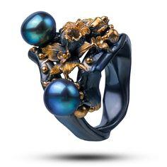 Ring by Vida Maestro. Pearls, Prasiolite, silver with black rhodium plating.