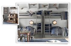 We like the grey color of the bunks. I also love the blue plaid bedding. Alexander likes the mariner's flush mount lights. Rooms | Restoration Hardware Baby & Child