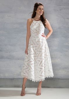 Be-All East End-All Dress in White. Take this white maxi dress out for artisanal cocktails and youll understand your reason for existence! #white #bride #wedding #modcloth